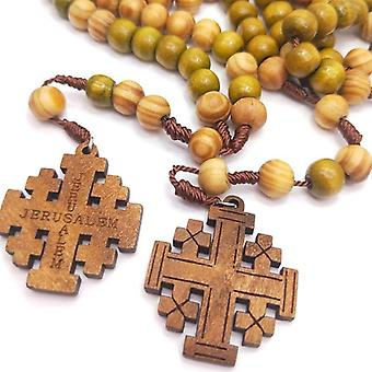 Jesus Wooden Prayer Beads 10mm Rosary Cross Woven Rope Necklace Pendant