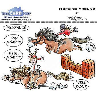 Kortet Hut Horsing runt tydliga frimärken
