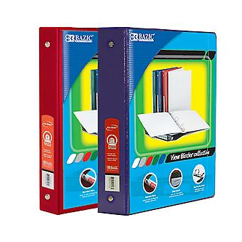 Combo91, BAZIC 1.5 Inch 3-Ring View Binder with 2-Pockets (Case pack of 24 consist 12-Red & 12-Purple)