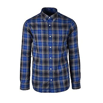Gant D1. Melange Herringbone Check Button Down Shirt Crisp Blue