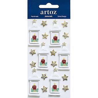 White Xmas Lanterns Craft Embellishment By Artoz