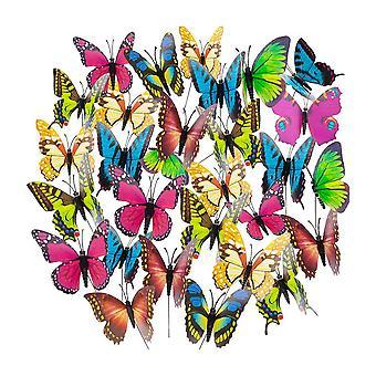 50pcs Colorful Garden Butterflies Stakes Decor 8x25CM