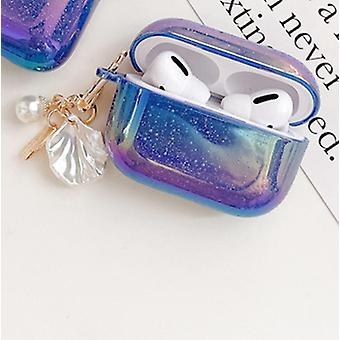 3d Love Pearl Shell Keychain Water Drop Rainbow Hard Headphone Case For Apple Airpods