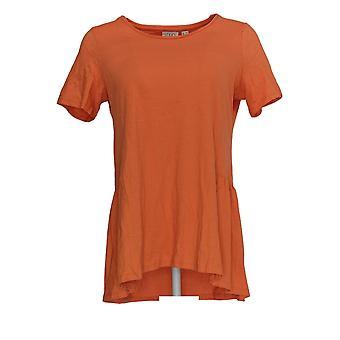 LOGO by Lori Goldstein Women's Top Knit w/ Seam Details Orange A344399