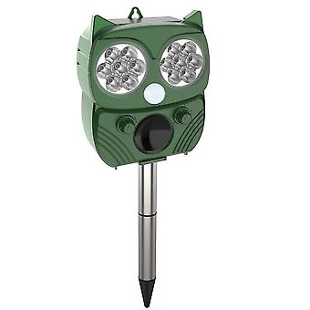 Water resistant ultrasonic shocker against animals and insects, solar cell - Green owl