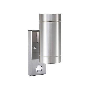 Outdoor Cylinder Up / Down Wall 2 Licht Aluminium met Sensor IP54, GU10