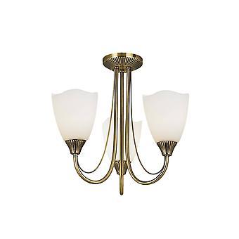 Endon Haughton - 3 Light Semi Flush Multi Arm Ceiling Light Antique Brass, Opal Glass, E14