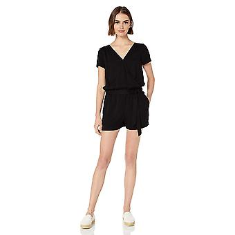 Marca - Daily Ritual Women's Tencel Short-Sleeve Wrap Romper, Preto, 16