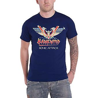 Hawkwind T Shirt Sonic Attack Album Cover Band Logo new Official Mens Blue