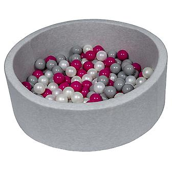 Poço de bola 90 cm com 150 bolas mãe de pérola, roxo e cinza