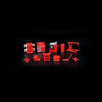 1:64 Sc06 auto reparasjon og vedlikehold utstyr sett garasje modell bil rekvisitter scene verktøy (rød)