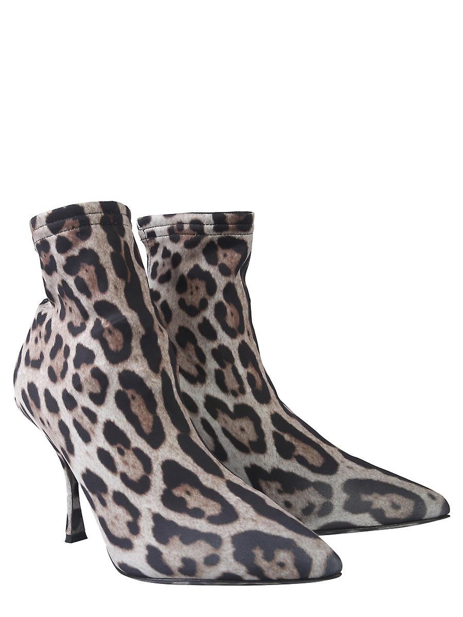 Dolce E Gabbana Ct0603aa911hy13m Women's Leopard Nylon Ankle Boots