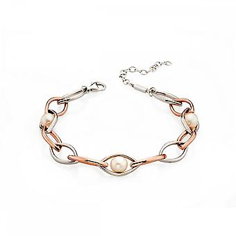 Fiorelli Silver Rose Gold Pearl Marquise Station Bracelet B4827W