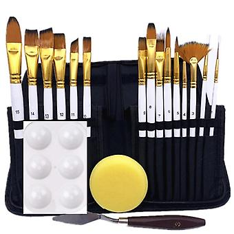 Set Of 15-artist Brushes With Painting Knife, Sponge And Color Palette