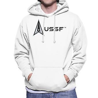 U.S. Space Force Logo USSF Dark Text Men's Hooded Sweatshirt