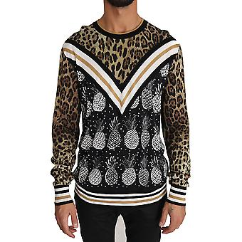 Dolce & Gabbana Black Brown Leopard Pineapple Silk Sweater