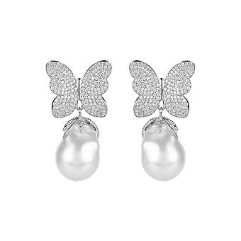 Boucles d'oreilles Natural Baroque White Pearl Butterfly 925 Silver CZ Drop Statement Big