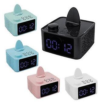 2 i 1 trådløst stereo bluetooth 5 højttaler dobbelt vækkeur