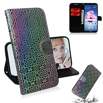 For Huawei Y5 2018 / Y5 Lite 2018 Solid Color Colorful Magnetic Buckle Horizontal Flip PU Leather Case with Holder & Card Slots & Wallet & Lanyard(Sil