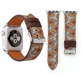 For Apple Watch Series 3 & 2 & 1 42mm Retro Flower Series Chrysanthemum Pattern Wrist Watch Genuine Leather Band