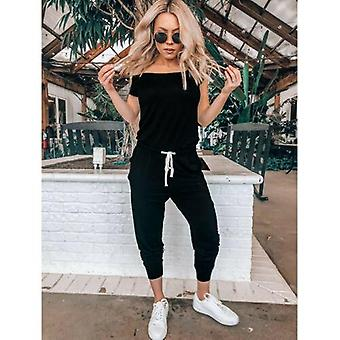 Frauen's Casual Off Schulter Jumpsuits Bodycon Short Sleeve Jumpsuit Strampler