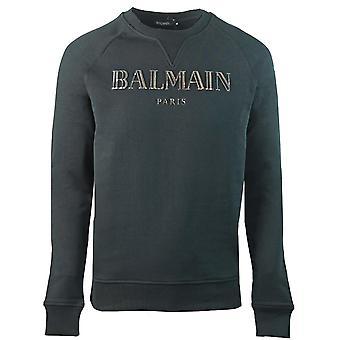 Pull noir logo métallisé Balmain Paris 3D