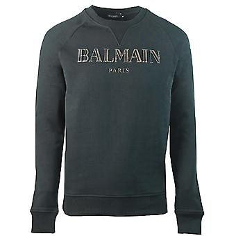 Balmain Paris 3D Metallic Logo Black Sweater
