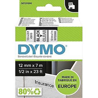 Etikettering tape DYMO D1 45010 Tape kleur: transparant lettertype kleur: zwart 12 mm 7 m
