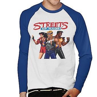 Sega Streets Of Rage Pixelated Tegn Menn's Baseball Langermet T-skjorte