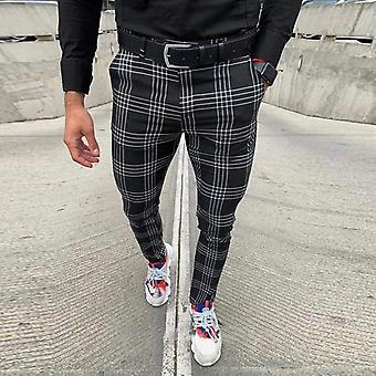Męskie spodnie na co dzień, Plaid Social Slim Fit, Spodnie na zamek błyskawiczny, mid waist