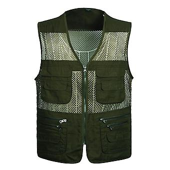 Large Size Mesh, Vests Male With Many Pockets, Mens Breathable Fishing Vest,