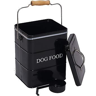 Dog treat food storage tin with lid and scoop included - white powder - carbon steel
