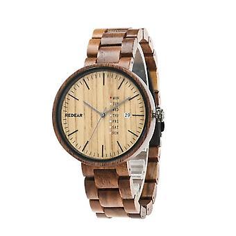 REDEAR SJ1488 Fashion Men Wooden Watch Date Week Display Wooden Strap Quartz Wa