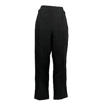 Susan Graver Women's Petite Pants Slim Leg Pull Op Zwart A38427