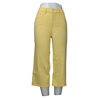 NYDJ Women's Jeans Wide Leg Capri Fray Hem - Sunshine Yellow A377703