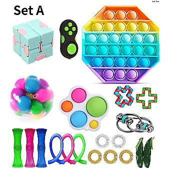Sensory Fidget Toys Bundle Stress Relief With Fidget Hand Toys Rainbow Rubik Cube Five Finger Push Bubbles Unzip Ball Toys