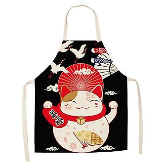 Lucky Cat Kitchen Aprons Cotton Linen Bibs Household