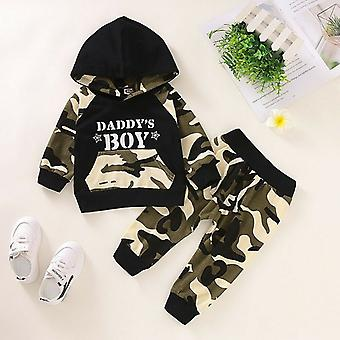 Letter Hoodie T-shirt, Tops & Camouflage Pants, Outfits Set For Baby