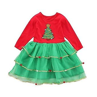 Baby Dress Autumn Christmas Tree Print Party Costume