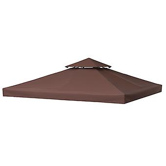 Outsunny 3 x 3(m) Gazebo Canopy Roof Top Replacement Cover Spare Part Coffee (TOP ONLY)