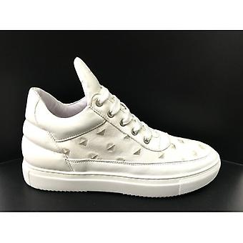 Men's Shoes Sneaker Up In White Leather Print Pyramid Rubber Bottom Us16ms03