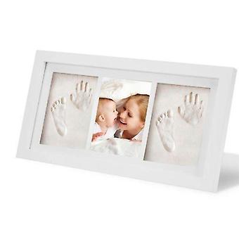 Bebê, criança, dedo do pé, conjunto de molduras de madeira de mão, kit de tinta de argila de impressão