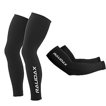 Pro Team Raudax Black Uv Protection Arm Leg Warmer Sleeve