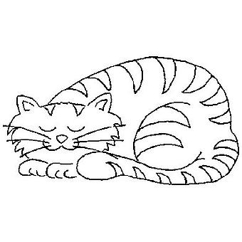 Sleeping Cat Wood Mounted Stamp