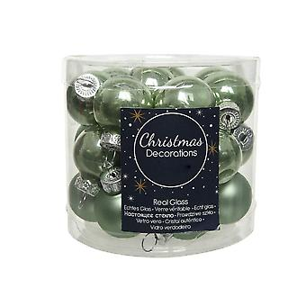 25 2.5cm Sage Green Glass Christmas Tree Bauble Decorations