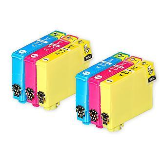 2 Sæt med 3 blækpatroner til udskiftning af Epson 502XL C/M/Y-kompatibel/ikke-OEM fra Go-blæk (6 trykfarver)