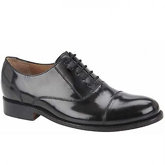 Kensington Lennie Mens Hi-shine Leather Oxford Shoes Black