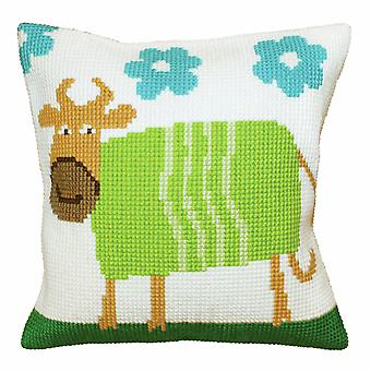 Collection d'Art Cross Stitch Kit: Cushion: Cheerful Cow