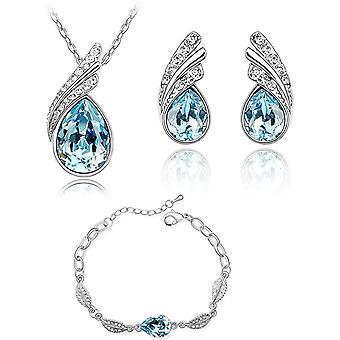 Tropfenform Crystals from Swarovski Blau Simulierter Aquamarin Schmuck-Set Halskette Ohrringe