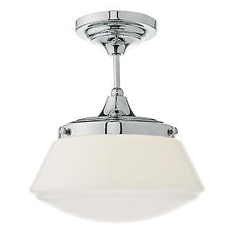 Semi Flush Plafond Lumière Lumière Poli Chrome & Opal Verre IP44, 1x E27